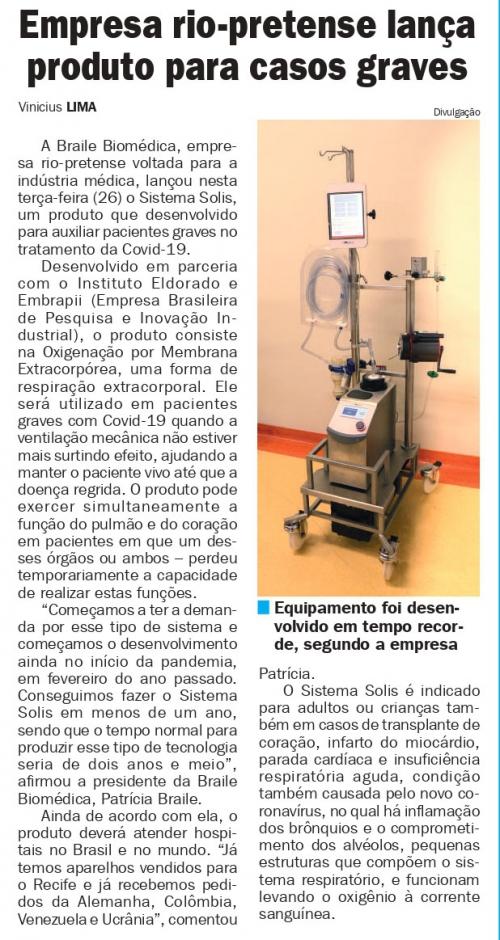 Sistema Solis é matéria no Jornal D Hoje Interior